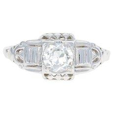 Art Deco Diamond Engagement Ring - 18k White Gold Euro Solitaire 0.42ct GIA