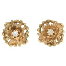 Vintage Floral Stud Earrings - 14k Yellow Gold Diamond Accents Pierced