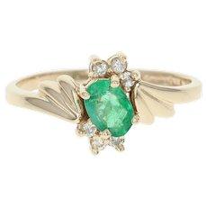 Emerald & Diamond Bypass Ring - 14k Yellow Gold Oval Brilliant .59ctw