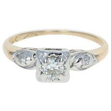 Retro Diamond Engagement Ring - 14k Yellow Gold Vintage Round Brilliant .18ctw