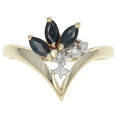 Floral Sapphire & Diamond Ring - 10k Yellow Gold Marquise Brilliant .56ctw