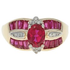 Synthetic Ruby & Diamond Ring - 10k Yellow Gold Oval Brilliant 2.65ctw