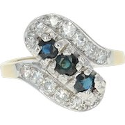 Art Deco Sapphire & Diamond Bypass Ring -14k Gold Vintage Round Brilliant .90ctw