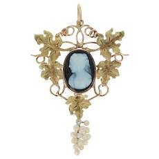 Victorian Carved Hardstone Agate Cameo Pendant 10k Gold Pearls Antique Lavaliere