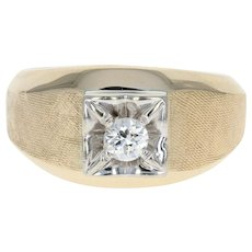 Men's Diamond Ring - 14k Yellow Gold Size 7 3/4 Round Cut .25ct