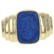 Lapis Lazuli Cameo Ring - 18k Yellow Gold Silhouette Women's Size 7 1/4