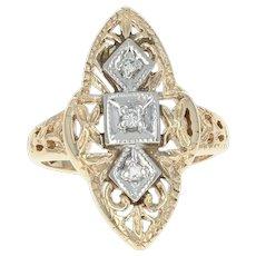 Vintage Diamond-Accented Ring - 10k Yellow Gold Milgrain Women's Size 4 1/4