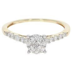 Diamond Engagement Ring - 14k Yellow Gold Illusion Solitaire Round Cut .33ctw