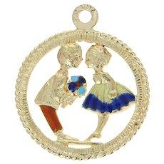 Sweethearts Charm - 18k Yellow Gold Enamel Love Gift Pendant