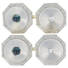 Art Deco Sapphire & Diamond Cufflinks - Platinum 14k Gold Vintage Octagon .66ctw