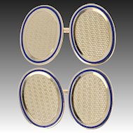Vintage Cufflinks - 14k Yellow Gold Woven Pattern Blue Enamel Men's Gift