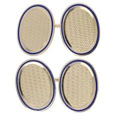 Vintage Cufflinks - 14k Yellow Gold Woven Pattern Blue Enamel Men's Gift