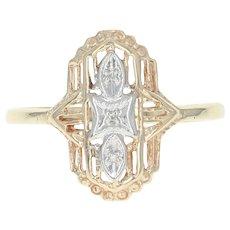 Diamond-Accented Filigree Ring - 14k Yellow Gold Milgrain Size 8 1/4