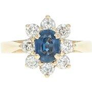 Sapphire & Diamond Floral Halo Ring - 14k Yellow Gold Size 6 Women's 2.14ctw