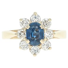 Sapphire & Diamond Floral Halo Ring - 14k Yellow Gold Size 6 Women's 2.14ctw