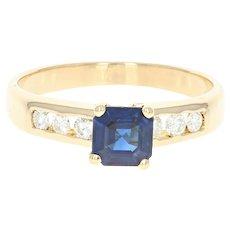 Sapphire & Diamond Ring - 18k Yellow Gold 6 1/4 - 6 1/2 Engagement .89ctw