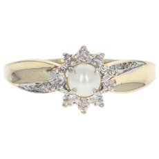 Cultured Pearl & Diamond Ring - 10k Yellow Gold Bypass 4.5mm