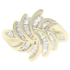 Floral Diamond Swirl Ring - 14k Yellow Gold Cluster Baguette .65ctw