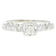 Vintage Diamond Engagement Ring - 14k White Gold Old Mine Cut .23ctw