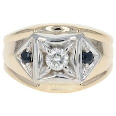 Diamond & Sapphire Ring - 14k Yellow Gold Men's Round Cut .54ctw