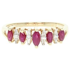 Synthetic Ruby & Diamond Ring - 10k Yellow Gold Marquise Brilliant .63ctw