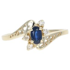 Sapphire & Diamond Bypass Ring - 14k Yellow Gold Oval Brilliant .43ctw