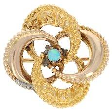 Victorian Opal Brooch Pin Yellow Gold 10k Flower Vintage Women's Gift October