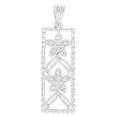 Floral Lattice Pendant - 14k White Gold Milgrain Diamond Accents