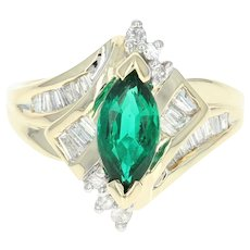 Synthetic Emerald & Diamond Bypass Ring - 14k Gold Marquise Brilliant 1.30ctw