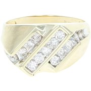 Men's Diamond Ring - 14k Yellow Gold Size 10 1/2 - 10 3/4 Round Cut 1.00ctw