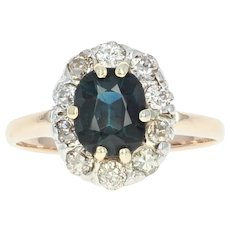 Sapphire & Diamond Halo Ring - 14k Yellow Gold Oval Brilliant 1.60ctw