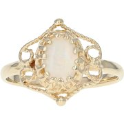 Opal Solitaire Ring - 14k Yellow Gold Size 5 3/4 Cabochon .60ct