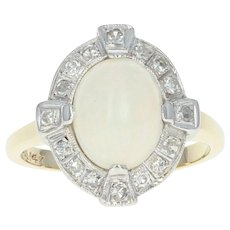 Art Deco Opal & Diamond Halo Ring - 14k Yellow Gold Vintage 2.01ctw