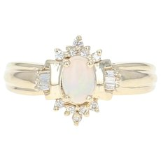Opal & Diamond Ring - 14k Yellow Gold Oval Cabochon .42ctw