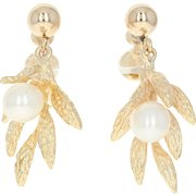 Cultured Pearl Dangle Earrings - 14k Yellow Gold Non-Pierced Screw-On Closures