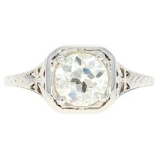 Art Deco Diamond Engagement Ring - 18k White Gold Vintage GIA European 1.38ct