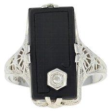 Art Deco Onyx Ring - 18k Gold Vintage Diamond Accent Filigree Size 9