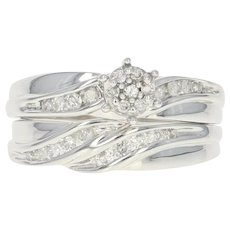 Diamond Engagement Ring & Wedding Band - 10k Gold Cluster Round Brilliant .45ctw