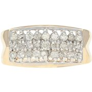 Tiered Diamond Cluster Ring - 14k Yellow Gold Round Brilliant .50ctw