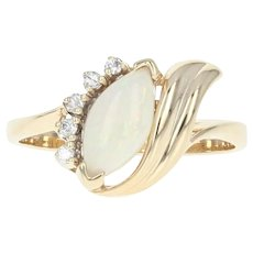 Opal & Diamond Bypass Ring - 14k Yellow Gold Marquise Cabochon .65ctw