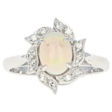 Opal & Diamond Halo Ring - 14k White Gold Oval Cabochon .92ctw