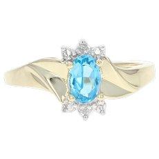 Blue Topaz & Diamond Ring - 10k Yellow Gold 0.51ctw Oval Bypass Women's Gift