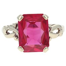 Vintage Synthetic Ruby Ring - 10k Yellow Gold Size 4 Solitaire 2.75ct