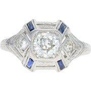 Art Deco Diamond & Syn. Sapphire Ring - Platinum Etched Vintage European .63ctw