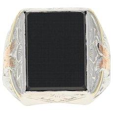 Art Deco Onyx Ring - 14k White Gold Etched Vintage Men's Size 9 1/4