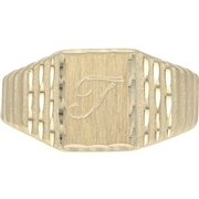 "Initial ""T"" Signet Ring - 14k Yellow Gold Etched & Ribbed Men's Size 7 3/4 - 8"