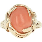 Coral Solitaire Ring - 14k Yellow Gold Leaf Design Women's Size 5 1/2