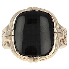 Vintage Onyx Ring - 10k Yellow Gold Women's Size 6 1/2