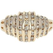 Diamond Ring - 14k Yellow Gold Stripe Design Round Cut 1.00ctw