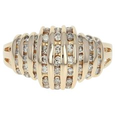 Diamond Ring - 14k Yellow Gold Stripe Design Round Cut 1.00ctw